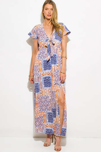 $20 - Cute cheap print draped backless dress - pastel multicolor abstract ethnic print cap sleeve side slit boho maxi summer dress