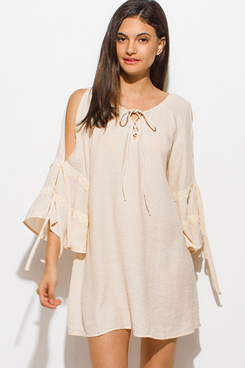 $15 - Cute cheap ivory white crochet lace panel long blouson sleeve button up boho blouse top - peach beige long slit tiered angel bell sleeve keyhole tie front boho peasant mini dress