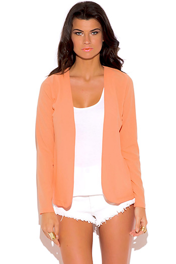$15 - Cute cheap dark navy blue golden button long sleeve fitted peplum blazer jacket top - peach pink crepe long sleeve open blazer top