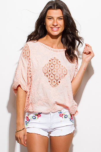 $15 - Cute cheap ivory white textured embellished crochet knit round neck long sleeve sweater top - peach pink cotton gauze crochet knit short dolman sleeve boho beach cover up top