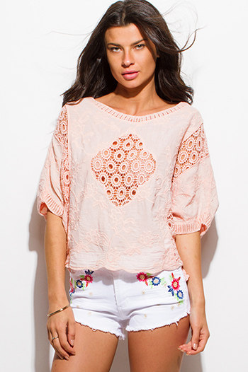 $15 - Cute cheap sheer slit boho top - peach pink cotton gauze crochet knit short dolman sleeve boho beach cover up top