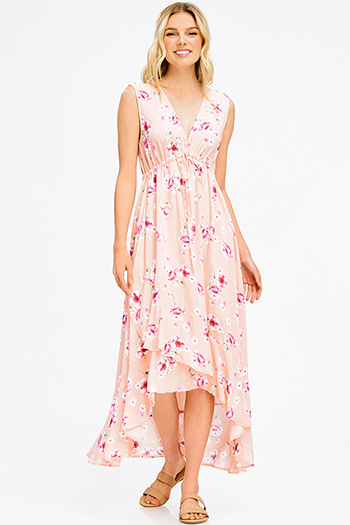 $20 - Cute cheap babydoll cocktail midi dress - peach pink floral print v neck empire waist sleeveless ruffle hem boho maxi sun dress
