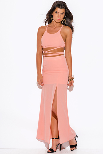 $20 - Cute cheap peach pink ruffle spaghetti strap sexy party bodysuit top - peach pink high slit crepe evening cocktail party maxi two piece set dress