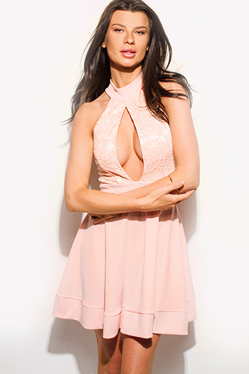 $15 - Cute cheap lace sheer bodycon dress - peach pink lace sleeveless halter keyhole cut out cocktail sexy party a line skater mini dress