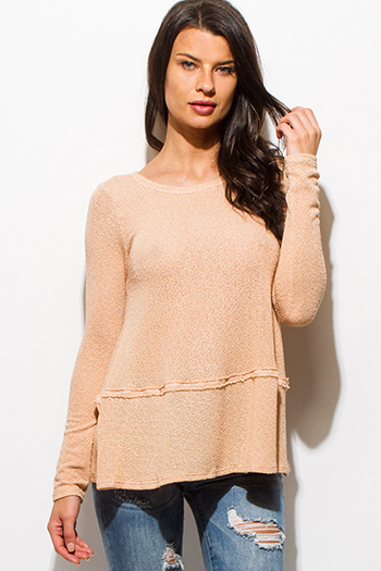 $15 - Cute cheap lace sheer long sleeve top - peach pink long sleeve keyhole back sweater knit top