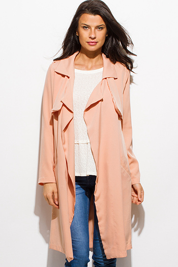 $25 - Cute cheap long sleeve sexy club romper - peach pink long sleeve sash belted pocketed duster trench coat jacket