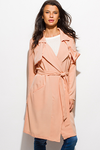 $25 - Cute cheap top - peach pink long sleeve sash belted pocketed duster trench coat jacket