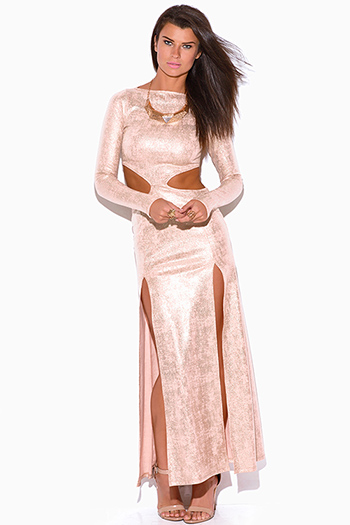 $20 - Cute cheap hot pink satin cut away asymmetrical high neck blouse sexy party top - peach pink metallic long sleeve double slit cut out formal evening cocktail party maxi dress