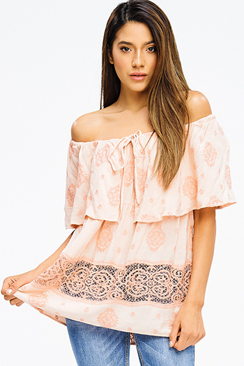 $15 - Cute cheap coral pink floral print ruffle a line skater boho mini sun dress - peach pink off shoulder tiered embroidered crochet trim boho blouse top