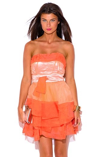$5 - Cute cheap coral orange plaid graphic print sheer chiffon ruffle corset tie mini skirt - papaya orange organza ruffle strapless tafetta formal cocktail sexy party mini dress