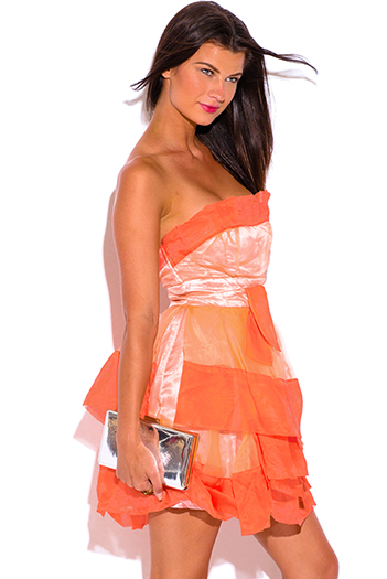 $5 - Cute cheap rust orange polka dot ruffle faux wrap racer back boho a line skater mini dress - papaya orange organza ruffle strapless tafetta formal cocktail sexy party mini dress