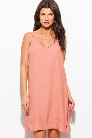 $15 - Cute cheap mesh mini dress - peach pink scallop v neck spaghetti strap cut out back sexy club shift mini dress
