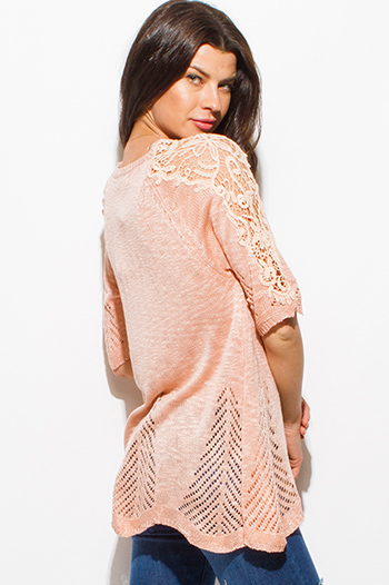 $15 - Cute cheap blue tie dye cotton gauze crochet lace off shoulder long bell sleeve boho top - peach pink short sleeve crochet lace applique crochet knit boho top