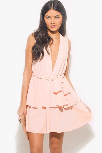 $20 - Cute cheap lace v neck mini dress - peach pink textured chiffon deep v neck sleeveless tiered cocktail mini sun dress