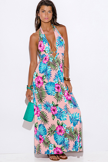 $15 - Cute cheap print draped backless dress - peach pink tropical floral palm print bejeweled draped backless babydoll summer sexy party maxi dress