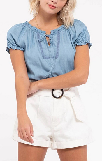 $18.50 - Cute cheap peasant chambray woven short sleeve top