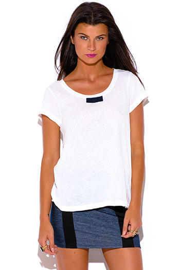 $10 - Cute cheap penny stock bright white bow tie linen preppy tee shirt boxy top