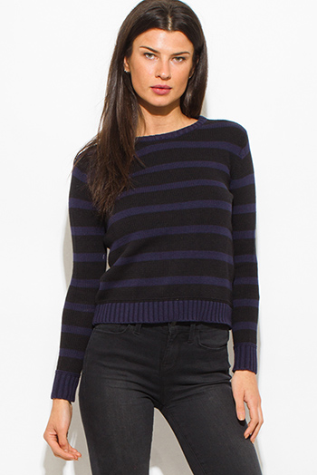 $10 - Cute cheap blue crop top - penny stock navy blue/black striped crop knit sweater top