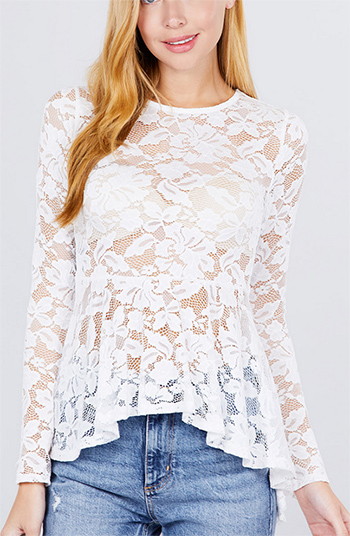 $15.75 - Cute cheap chiffon top - peplum lace top