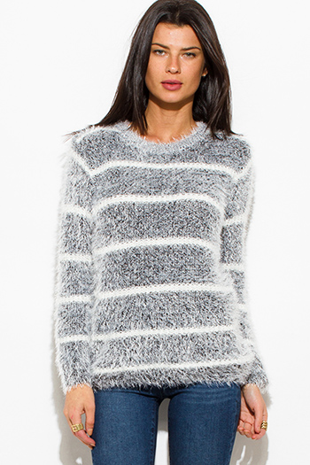 $15 - Cute cheap stripe bodysuit - peppered black cotton blend stripe textured long sleeve fuzzy sweater knit top