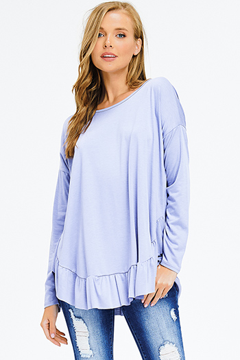 $15 - Cute cheap blue washed denim mid rise distressed destroyed tiered frayed hem ankle fit skinny jeans - periwinkle dusty blue long sleeve ruffle hem boho top