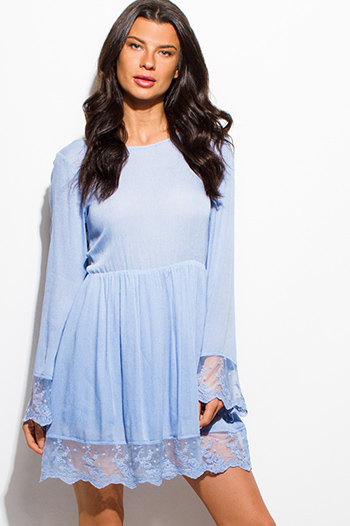 $20 - Cute cheap light blue polka dot a line laceup back boho mini sun dress - periwinkle dusty blue scallop lace trim bell sleeve cut out caged back boho mini dress