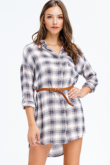 $12 - Cute cheap pocketed boho mini dress - pink and grey plaid long sleeve belted button up tunic top boho mini shirt dress