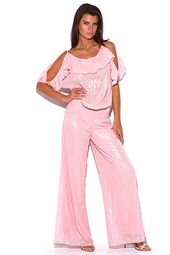 $15 - Cute cheap mesh sheer sexy party jumpsuit - pink ruffle chiffon cold shoulder evening party wide leg jumpsuit