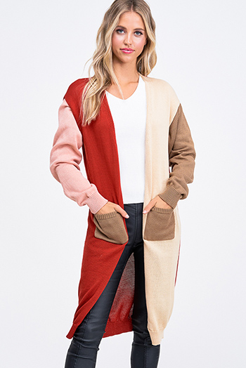 $30 - Cute cheap black v neck gathered knot front boho sleeveless top - Pink color block long sleeve pocketed open front boho duster cardigan jacket top