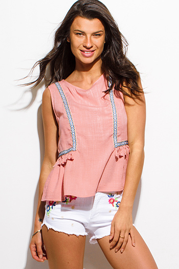 $15 - Cute cheap coral pink sheer crochet panel peasant boho blouse tank top - pink cotton linen blend embroidered tassel fringe sleeveless boxy boho top