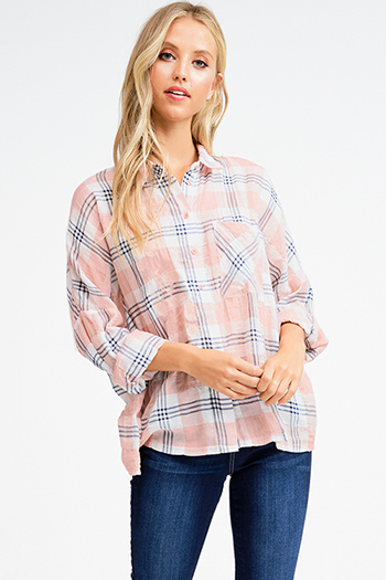 $15 - Cute cheap green cotton tunic - Pink cotton plaid embroidered button up long dolman sleeve boho top