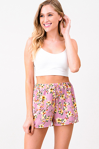 $8 - Cute cheap print chiffon blouse - Pink floral print elastic high waist resort lounge boho summer shorts