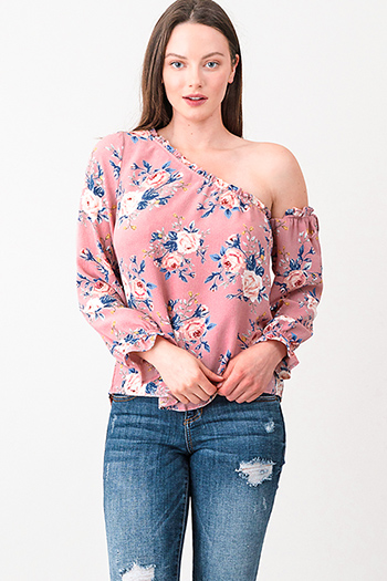 $15 - Cute cheap long sleeve sexy party sweater - Pink floral print one shoulder long sleeve boho blouse top
