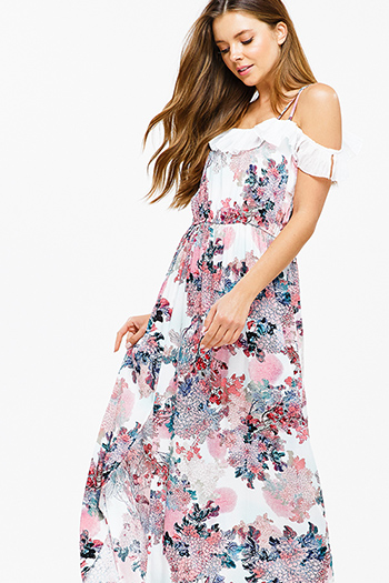 $20 - Cute cheap blue multicolor ethnic print smocked off shoulder resort boho maxi sun dress - Pink floral print sleeveless off shoulder ruffle trim side slit boho sexy party maxi sun dress
