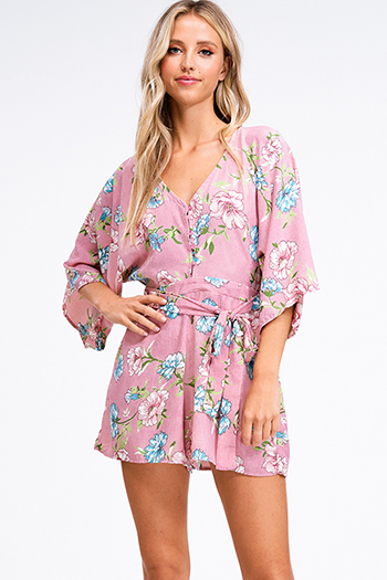 $15 - Cute cheap blue pocketed boho jumpsuit - Pink floral print v neck short kimono sleeve tie waist boho romper playsuit jumpsuit