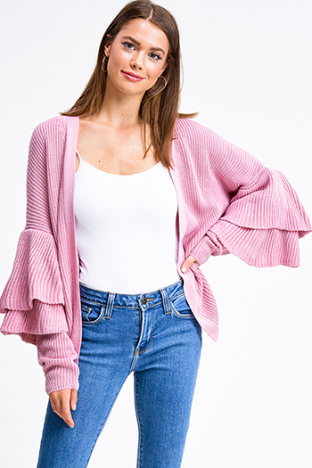 $20 - Cute cheap black ribbed knit long dolman sleeve surplice faux wrap belted sweater mini dress - Pink knit long tiered sleeve open front boho sweater cardigan