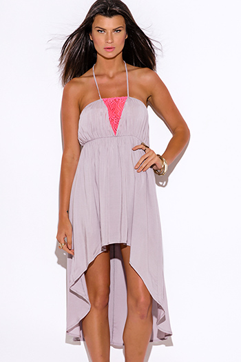 $10 - Cute cheap pink lace bodycon dress - pink lace trim gray halter high low summer sun dress