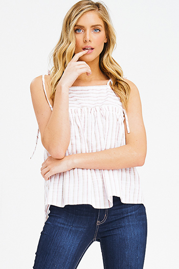 $15 - Cute cheap mauve blush pink wrap front low v neck criss cross cut out back sexy party tank top - pink multicolor striped tie spaghetti strap boho peplum tank top