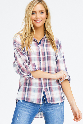 $20 - Cute cheap cold shoulder blouse - pink navy multicolor plaid cotton gauze long sleeve button up blouse top