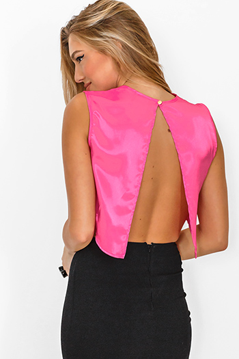 $10 - Cute cheap hot pink satin cut away asymmetrical high neck blouse sexy party top - pink satin cut out backless crop party top