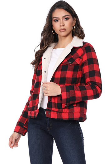 $27.5 - Cute cheap jacket - plaid jacket with sherpa fur inside