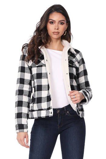 $27.50 - Cute cheap fall - plaid jacket with sherpa fur inside
