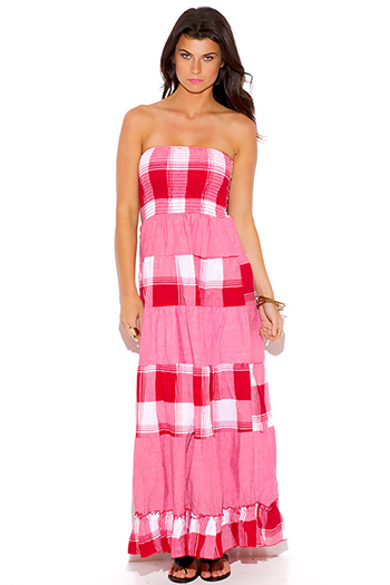 $10 - Cute cheap blush pink crochet gauze strapless maxi dress - plaid smocked strapless long maxi dress