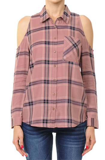 $15.50 - Cute cheap plaid woven rayon cold shoulder shirt