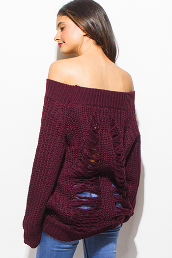 $30 - Cute cheap clothes - plum burgundy red crochet waffle knit off shoulder long sleeve destroyed shredded boho tunic sweater top