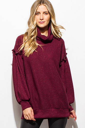 $25 - Cute cheap ruffle sheer sexy party top - plum burgundy red metallic lurex cowl neck ruffle long bubble sleeve banded tunic top