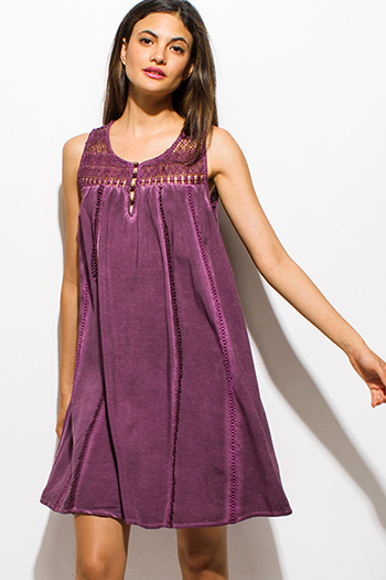 $15 - Cute cheap blue washed chambray sleeveless button up flare skater mini shirt dress - plum purple acid wash sleeveless sheer crochet lace boho peasant mini dress