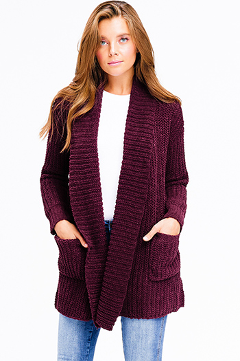 $20 - Cute cheap open back wrap jumpsuit - plum purple burgundy chenille fuzzy knit long sleeve draped neck open front pocketed boho sweater cardigan