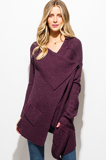 $15 - Cute cheap burgundy red high low hem boat neck long sleeve knit poncho tunic top - plum purple metallic lurex sweater knit drape asymmetrical hem long sleeve cardigan