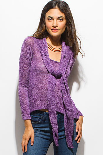 $10 - Cute cheap lace sheer slit top - plum purplr front tie long sleeve knit top